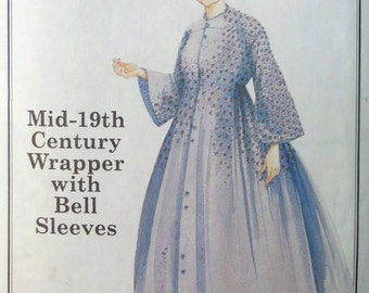 """Past Patterns 807 - Very Authentic 1850s """"Wrapper"""" Robe w/ Bell Sleeves - Reenactment, Cosplay, Historical Costuming, Costume - UNCUT Women"""