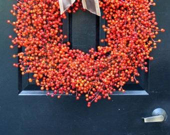 Weatherproof Berry Wreath- Double Bow- Fall Wreath- Halloween Decor- Autumn Decoration- Fall Decor- Orange Berries- Orange Berry Wreath
