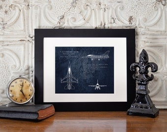 F-16 Fighting Falcon airplane blueprint, aviation nursery decor, airplane art, military aircraft, veteran gift, pilot gift, gifts for him