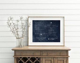 "16 x 20"" AC-130 Gunship airplane blueprint, AC-130U Spooky gunship blueprint, aviation decor, airplane art, husband gift, military airplane"