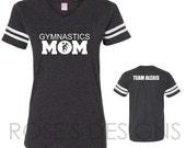 Gymnastics MOM Grey Jersey Tee with White Glitter Vinyl- CUSTOM Order for J&R