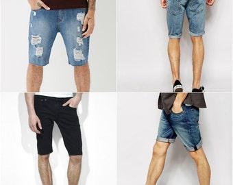 Levi Shorts 501 LEVI'S Denim Cutoff Shorts Tattered Blue MENS Distressed Highwaist Levi Jean Shorts Cut high or Low Cut