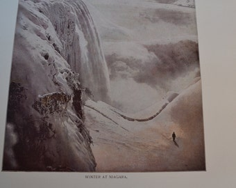 1894 Scenic Photography of America - Winter Niagara Falls - Landscape Nature Antique Victorian Era Fine Art for Framing 100 Years Old