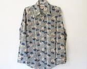 Men's Vintage 1970s Branford Shirt / Long Sleeved Button-down / Blue and Brown Coat Hanger Novelty Print