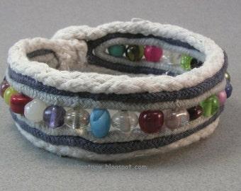 joyful color glass beaded cuff bracelet one button cuff cord fabric multicolored bracelet 3804