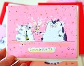 Congrats Card - Champagne Cats  - Congrats Cat Card