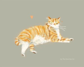 Orange Tabby Cat Print - Love Machine - Cat Painting - Cat Art