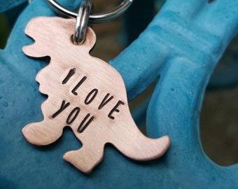Rawr, I love you, Dinosaur keychain, whimsy keychain, Anniversary keychain, Dinosaur lover gift