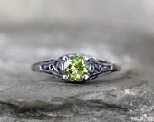 Peridot Ring - August Birthstone Ring - Antique Style Peridot Ring - Dark Sterling Silver - Green Gemstone Rings - Filigree Ring
