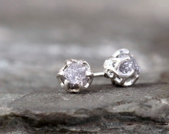 Uncut Diamond Earrings - Sterling Silver Vintage Inspired - 2 Carat Stud Earring - April Birthstone - Raw Gemstone - Conflict Free Diamonds