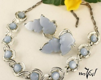 1950s Moon Glow Necklace Set - Vintage Light Blue Thermoset & Silver Tone w/ Clip On Leaf Earrings