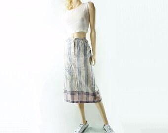 80s Midi Skirt Vintage Pencil Skirt 1980s Cotton Skirt Midi Straight Skirt Cotton Pencil Skirt Striped Skirt 1980s Midi Skirt, xs