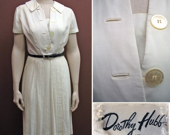 1950s Vintage White Shirtwaist Dress by Dorothy Hubbs SZ S