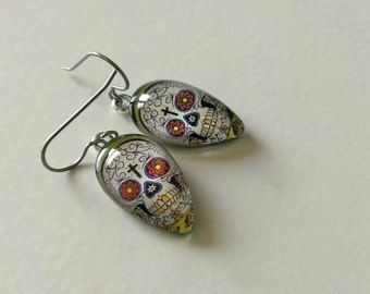 Day of the Dead Glass Earrings- Tear Drop Earrings- Sugar Skull Dangle Earrings- Titanium Earrings- Made with Up-cyled Paper