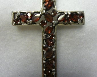 Sterling Silver and Garnet Large Cross Pendant