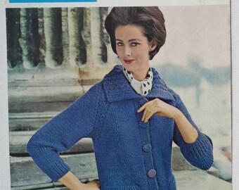 Vintage 1950s 1960s Knitting Pattern Women's Cardigan Jacket 50s 60s original pattern Lister No. C 1198 UK chunky bulky knit