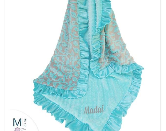 Flax Gray and Saltwater Minky Blanket, Beautiful Spa Green Minky dot with Flax Gray Background, Marina Granada Cuddle - three sizes
