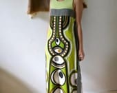 RESERVED 1960's Psychedelic Eye Terrycloth Maxi Dress/ Rosen Made in Israel Green Pucci Style/Beach Cover up