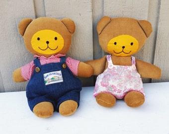 Handmade Brown Corduroy Bears, Vintage Boy and Girl Fabric Teddy Bear Dolls Country Decor