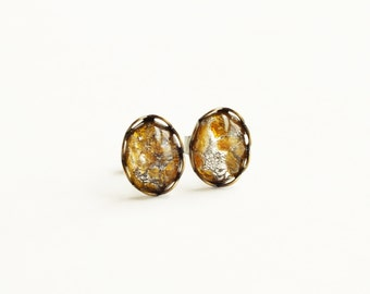 Gold Silver Foiled Glass Studs Lampwork Post Earrings Small Vintage Yellow Glass Post Earrings Tiny Gold Glass Studs Eco-Friendly Jewelry