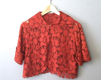 Beautiful Red Lace Caplet