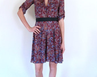 Sheer Floral 70's Day Dress