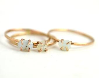 Raw Opal Ring, Gold Gemstone Ring, October Birthstone Ring
