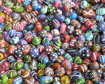 13mm to 8mm (1.5mm Hole) Assorted Shapes and Sizes Color Mixed Clay Beads 50 Grams (AS31) SE