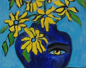 Greatness Within an original vase face painting by Joan Princing Art
