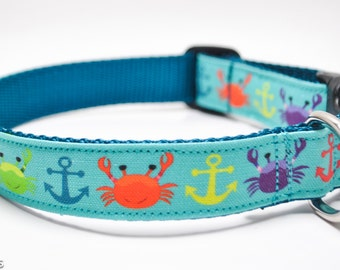 Crab and Anchor Dog Collar / Crab Crew / Multicolor Crabs / Anchors / Nautical Dog Collar