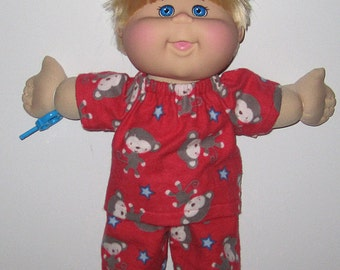 """Cabbage Patch Doll Clothes, Red Monkey Print Pajamas,   14""""  or 15"""" Doll Clothes,  Boy or Girl Doll Clothes, Adoptimals"""
