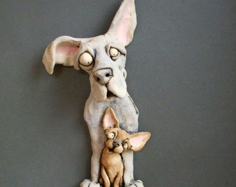 Big Dog Little Dog Ceramic Wall Sculpture of Great Dane and Chihuahua
