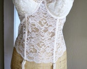 Ivory White Lace Merry Widow Boned Corset with Garters