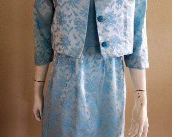 1960s Light Blue Brocade Sheath with Matching Bolero Jacket - MOTB Dress
