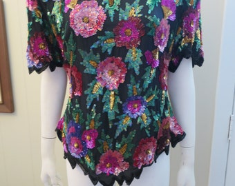 1980s Amazing Sequin Top - Florals - Disco Diva - Medium