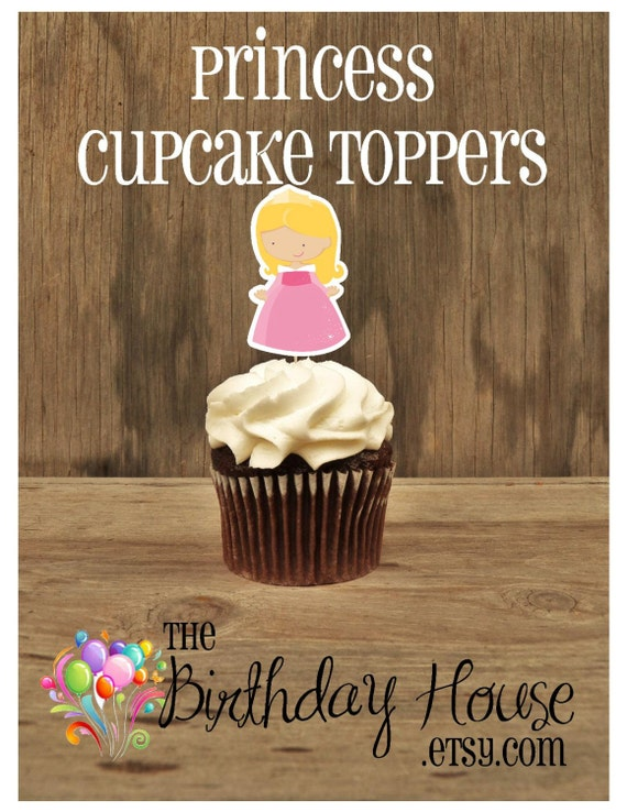 Princess Party - Set of 12 Aurora Cupcake Toppers by The Birthday House