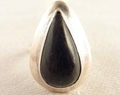 Vintage Size 4.5 Drop Shaped Onyx Mexican Sterling Ring