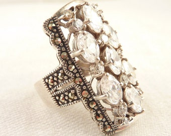 Size 10 Extra Long Vintage Sterling Cubic Zirconia Cocktail Ring with Accent Marcasites