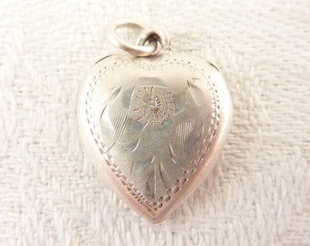 Antique Victorian Hand Engraved Sterling Puffy Heart Charm
