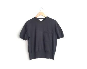 SALE // Size L // POCKET SWEATER Top // Chest Pocket - Short Sleeve - Black Knit Cotton Pullover - Vintage '90s Minimalist - Everyday Basic.