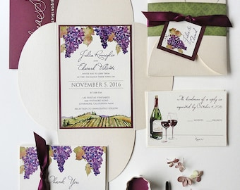 SAMPLE - Vineyard Watercolor Petal Fold Wedding Invitation