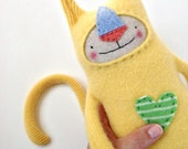 Cashmere Stuffed Animal Lanky Cat from Upcycled Yellow Sweater