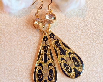 Art Nouveau Earrings - Black - Formal Event Jewelry - Elegant - MAXIMs Champagne