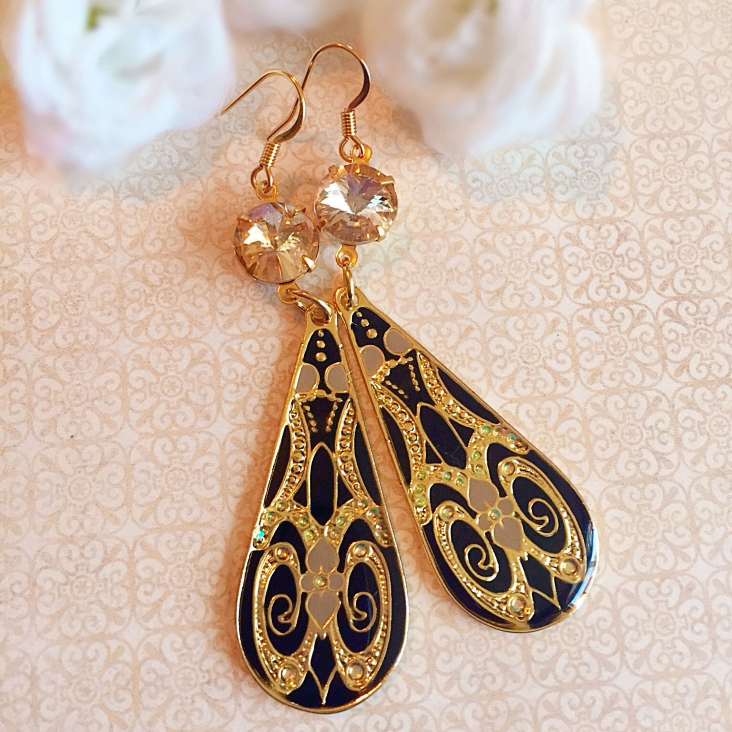 floral ddangle nuwzz designs painted nouveau silver vintage art hand product dangle earrings
