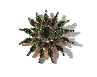 """Huge Austria Green Starburst Pin 3 3/8"""""""