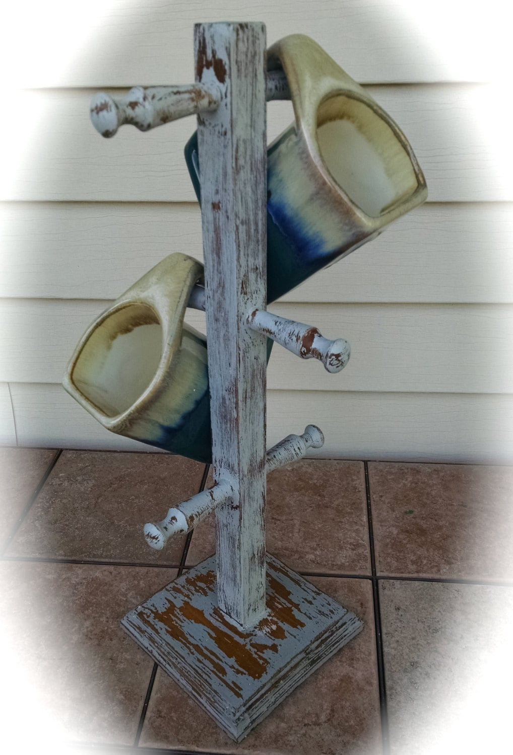 Coffee Cup Mug Tree Stand Up Cycled Wooden Shabby Chic