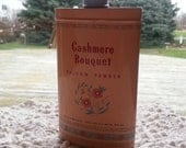 Vintage Cashmere Bouquet Talcum Powder Tin full of Powder 1940s Old New Stock Shabby Chic Bathroom Decor