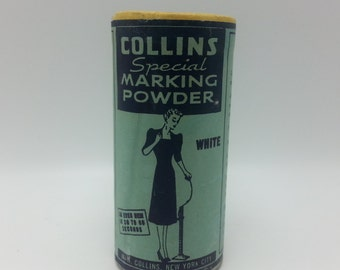 Vintage Sewing Marking Powder Collins Special Marking Powder An Even Hem in seconds Collins Self Skirt Marker