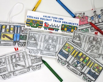 Chicago Holiday Train Color In Ornament Set