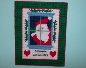 I Believe in Santa Claus Wall Hanging, Christmas Wall Hanging, Santa Peeking Through Window Wall Hanging, Holiday Wall Decor